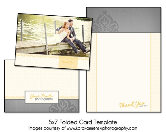 sunkissed 5x7 folded thank you card template digital. Black Bedroom Furniture Sets. Home Design Ideas