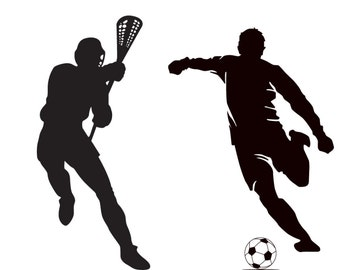 Kids vinyl wall decal set of 4 soccer player golf basketball and lacrosse player we can do any color any size