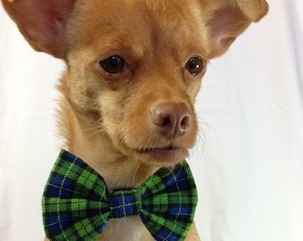 Blue and Green Plaid Pet  Bow Tie