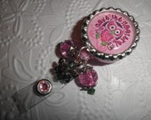 """Breast Cancer Badge- """"Save The Hooters"""" Professional Retractable ID Badge Reel With Bottle Cap and """" Save The Hooters"""" message with beads"""