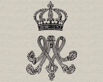 French Crown Marie Antoinette Monogram Initials French Decor Printable Digital Download for Iron on Transfer Fabric Pillows Tea Towels DT186