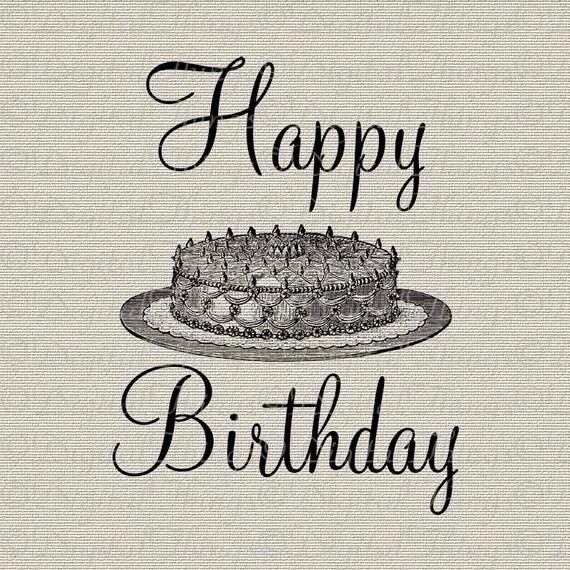 Happy Birthday Cake Script Holiday Decor Wall By DigitalThings