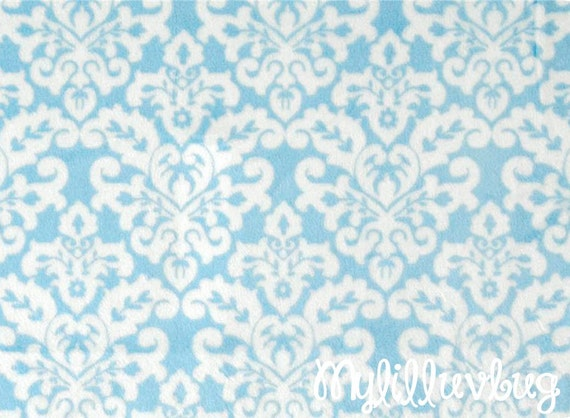 Minky fabric by the yard baby blue and white by for Baby fabric by the yard