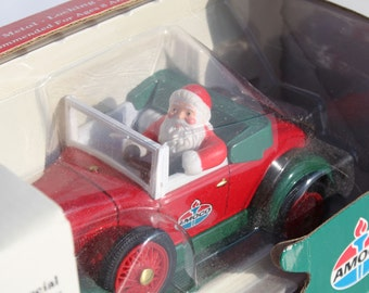 Amoco Oil Ford Truck Santa Roadster Bank Die Case Metal Locking Coin Bank Christmas 1992