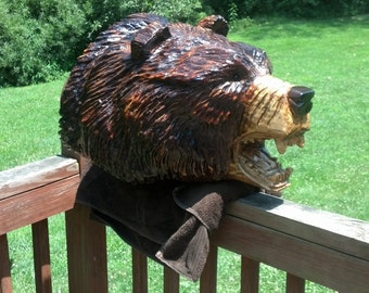 Chainsaw Carving Chainsaw Carved Grizzly Bear Head Mount