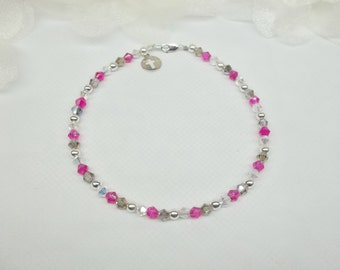 Silver Cross Anklet Hot Pink Anklet Fuschia Anklet Clear AB Crystal Anklet Gray Anklet Crystal Anklet 100% 925 Sterling Silver BuyAny3+1Free
