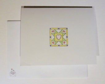 Quilt Block Cards, Hand Colored Cards, Blank Greeting Cards, Quilt Cards, Green Star Cards, Set of 8
