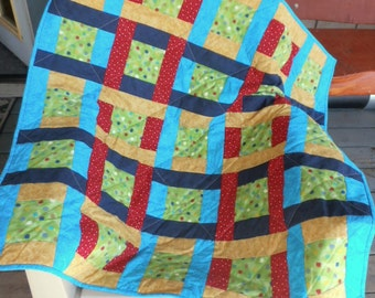 Polka Dot Quilt, Bright Colored Quilt, Baby Quilt, Teal Quilt, Blue Quilt, Green Quilt, Red Quilt, Yellow Quilt, Colorful Quilt