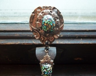 Victorian Art Glass Hanging Brooch