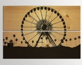 Landscape of Coachella 2012 Ferris Wheel and Palm Tree Silhouette on Natural Wood Panels