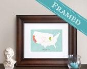 Custom Map Gift, Personalized Gift,  5x7 or 8x10 FRAMED Espresso Wood  Custom Designed Map