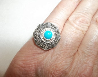Beautiful TURQUOISE & MARCASITE  Ring...Size 5.5... Sterling Silver Bohemian Bling...December Birthstone