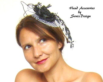 Gothic headpiece black and white/head jewelry/gothic fascinator