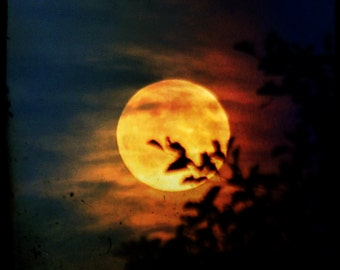 Fire Moon-  full moon, golden moon, fiery moon, textured moon photo, grungy, moon art, red orange blue black