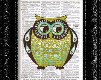 Little Fat Owl - Vintage Dictionary Print Vintage Book Print Page Art Upcycled Vintage Book Art