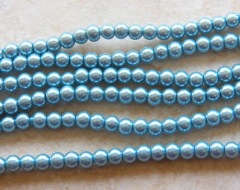 6mm Light Blue Glass Pearls, 100 PC (INDOC152)