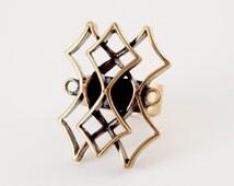 Sale : Modernist Finland Pentti Sarpaneva Pitsi Lace Gothic Ring Bronze Scandinavian Vintage 1960s