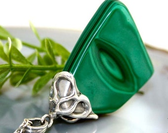 Malachite Necklace Green Gemstone Sterling Silver