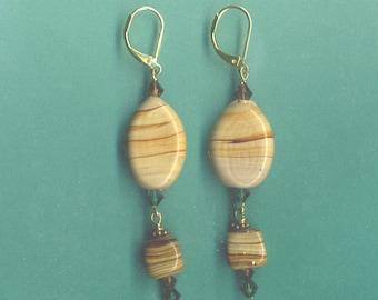 Handmade Caramel Swirl Bead Earrings