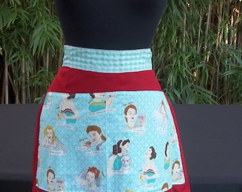 Glamping Glamour Girls Half Apron, Aqua and Red, Reversible, with Matching Dish Towel