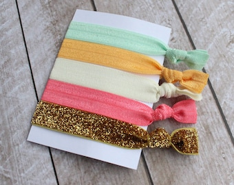 Set of 5 Elastic Hair Ties in Pastel Green, Golden Yellow, Ivory, Watermelon, and Gold Glitter - Doubles as Bracelet