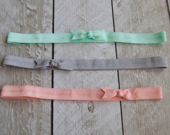 Set of 3 Bow Elastic Headbands in Pastel Green, Grey, and Peach - by Couture Flower