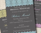 Printable Bridal Shower Invitation - Lace Wedding - Choose Your Color