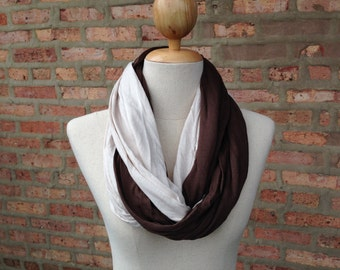 Brown and Cream Infinity Scarf
