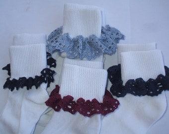 School Uniform Crocheted Cotton Lace Ruffle Socks Set of 3 Pair