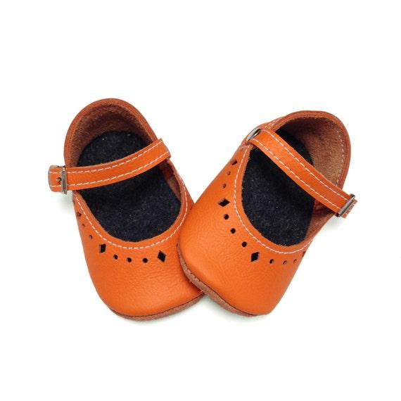 orange leather soft soled baby shoes infant shoes