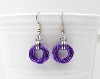Purple love knot earrings, chainmail earrings, purple jewelry, small circle earrings