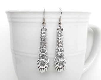 Graduated box chain chainmaille earrings, silver earrings