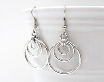Triple hoop chainmaille earrings, silver aluminum