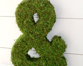 "Moss Covered Ampersand. ""&"". Wedding Decoration. Photo Prop. Engagement Photo Prop. Wedding Photo Prop."