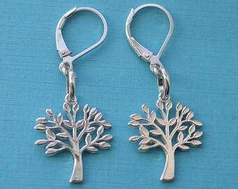 Sterling Silver Lever Back Tree Earrings
