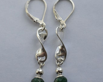 Emerald Lever Back Sterling Silver Earrings