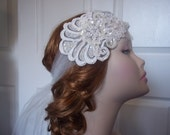 Lace Bridal Headband Ivory, 1920s Bohemian/Flapper Lace Sequin Headband, Lace Bandeau Headpiece 1920s, Gatsby Bride, Hollywood Bride - SALE!