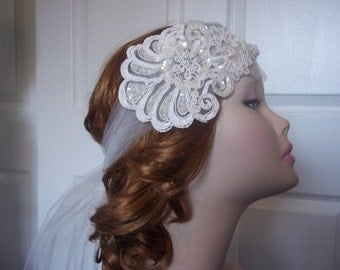 Lace Bridal Headband Ivory, 1920s Bohemian/Flapper Lace Sequin Headband, Lace Bandeau Headpiece 1920s, Gatsby Bride, Hollywood Bride - SALE!