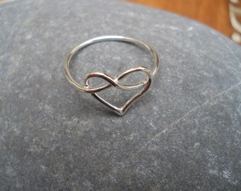 Little sterling silver heart knot ring