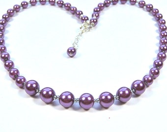 Purple Pearl Necklace, Radiant Orchid Pearl Necklace, Bridesmaids Necklace