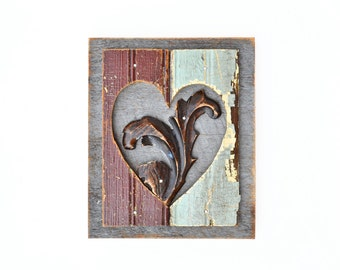Love grows better with age, a mixed media assemblage, vintage wood salvage heart, ORIGINAL ART  by Elizabeth Rosen