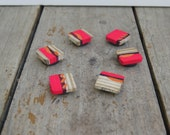 Reclaimed wood magnets  Set of 6 - Hand Painted pink purple orange abstract