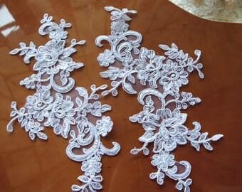 white lace headpiece, wedding applique, ivory lace applique, alencon lace applique, bridal headpiece applique, bridal hairflower applique