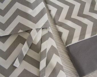 Toddler Bedding  Duvet and Pillowcase Chevron Grey Boys Toddler Blanket Set Grey White