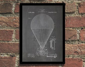 Airship Patent Print Steampunk Art Poster