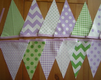 Bunting, banner. Chevrons, zigzags, spots, checks. Lime green, lilac purple. Photo prop. 10 feet long. Cotton flags.
