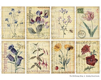 Shabby Floral Cards Printable ATC ACEO Digital Collage Sheet