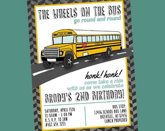 School Bus Birthday Party Invite