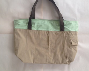 Upcycle Tote, Khaki and Green