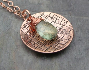 LAST CHANCE Sale, Spring - Hammered and Dapped Copper Disc Pendant Necklace with Mystic Green Hydro Quartz